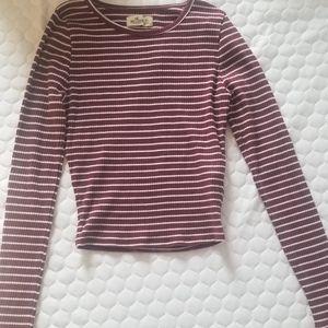 Hollister Maroon Striped Long Sleeve Crop Top XS